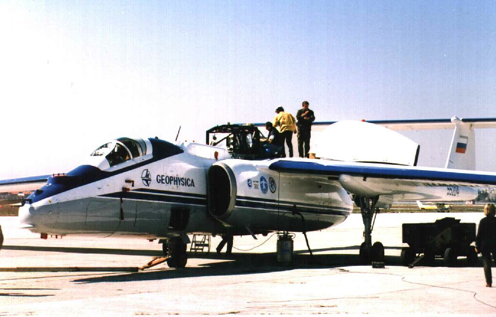 Geophysica on Forli apron, 1999.