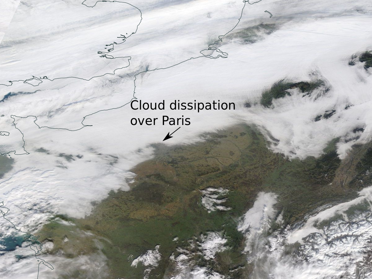 cloud dissipation over paris